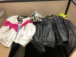 Females motorcycle jacket size large with DOT certified helmet size extra large for Sale in Essex, MD