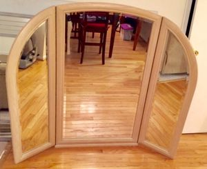 3-Panel Mirror Large Natural Wood for Sale in Crofton, MD