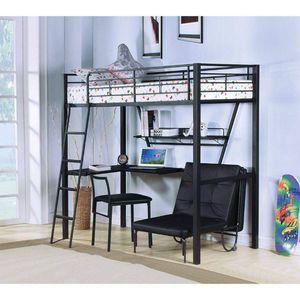 SILVER & BLACK FINISH TWIN SIZE LOFT BED WORKSTATION DESK SHELVING / LITERA SENCILLA ESCRITORIO for Sale in Riverside, CA
