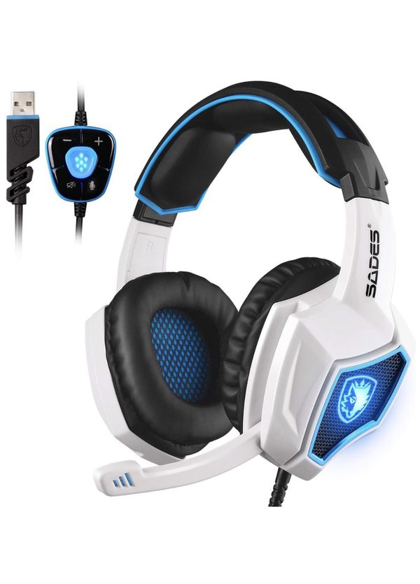 Spirit Wolf 7.1 Surround Stereo Sound USB Computer Gaming Headset with Microphone,Over-the-Ear Noise Isolating,Breathing LED Light for PC Gamers (Bla
