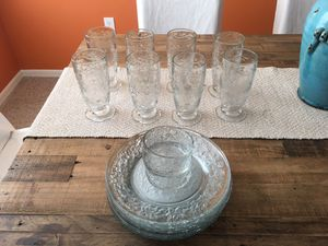 Princess House Fantasia glasses and plates for Sale in Seffner, FL