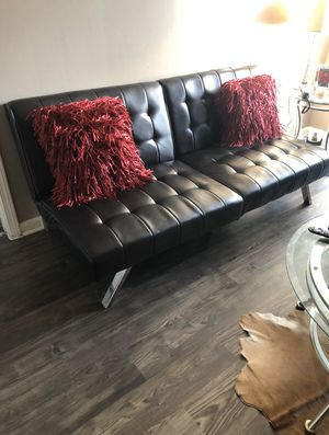 Brown leather futon/couch and chair for Sale in Houston, TX