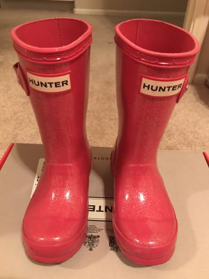Little Girls Pink Glitter Hunter Boots, Size 9 for Sale in San Diego, CA