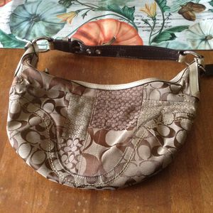 Coach Signature Patchwork Canvas Hobo Bag With Leather Trim for Sale in Stafford, TX