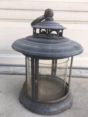 Rustic antique looking large candle holder lantern for outdoor patio or yard with glass dome for Sale in Orange, CA