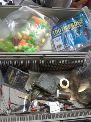Fishing box with stuff for Sale in Denver, CO
