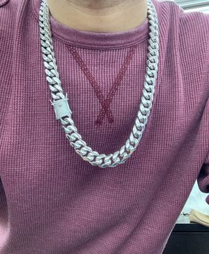 Cuban link white gold bonded in stainless steel (14mm 24inches ). for Sale in Dallas, TX