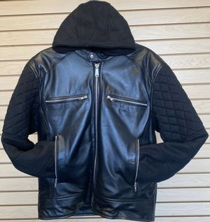 Men Removable Hooded Leather Jacket for Sale in Austin, TX