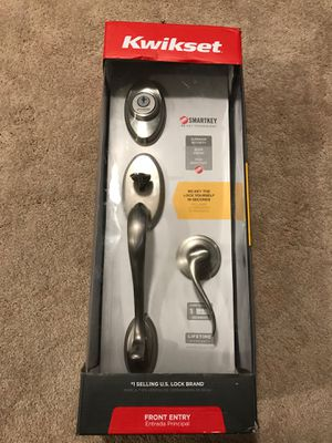 Kwikset signature series satin nickel front entry door handle set for Sale in Addison, IL