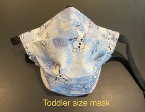 Handmade Disney Frozen Olaf Toddler face mask fits 2 to 3 years old with Adjustable ear straps and nose wire for Sale in Fontana, CA