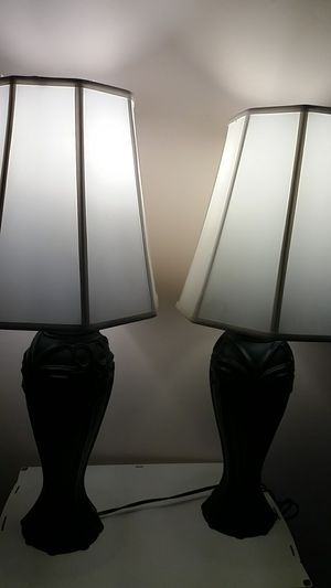 Two black lamps with shades for Sale in Woodbridge, VA