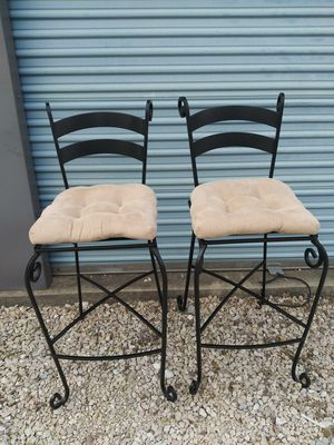 2 mint condition bar height chairs. Black wrought iron. With pillows for Sale in Keller, TX
