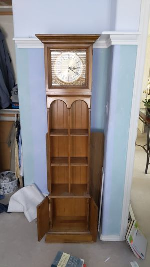 Antique Butler bookshelf with clock for Sale in Portland, OR