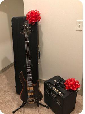 Bass Guitar ESP LTD B-5E Natural Stain 5 String Neck Through Bass Mahogany Body. Ebony Top & Fingerboard. 2 Humbucking pickups, Active EQ, Thin for Sale in Dallas, TX