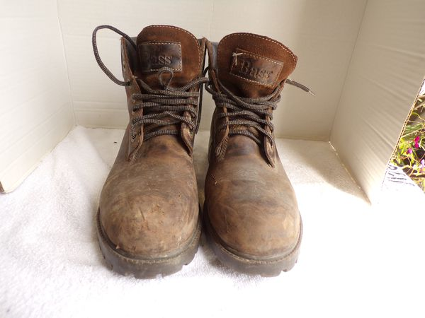 Bass Brown Thick Leather Water Proof Work Boots Size 9.5