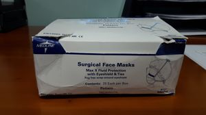 Surgical face masks max x fluid protection with eye shield & ties for Sale in Libertyville, IL