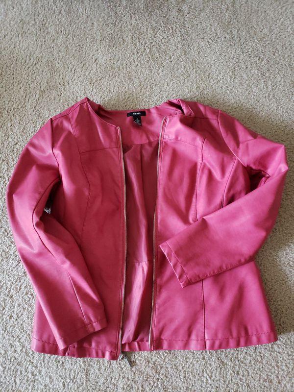 Alfani Womens Pink Leather Jacket M Long Sleeve Zip, worn once