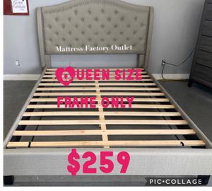 New queen size platform bed. Linen-like padded headboard with button tufting detail and nailhead trim. Warm grey color. Frame only for Sale in Los Angeles, CA