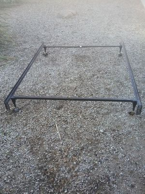 Full or twin size metal bed frame with 4 wheels for Sale in Gilbert, AZ