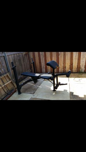 OLYMPIC WEIGHT BENCH PRESS BAR AND WEIGHTS for Sale in San Diego, CA