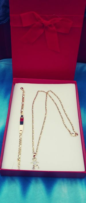 👨👩👧👦👶Kids jewelry👶👨👩👦👦 great for all ages🚗🚗I deliver..$60 Gold filled 💖📿20 in chain charm & bracelet 🚕🚕 for Sale in Fort Lauderdale, FL