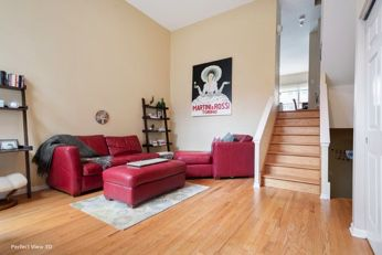 Overstuffed red leather sectional couch with extra-large ottoman for Sale in Chicago,  IL