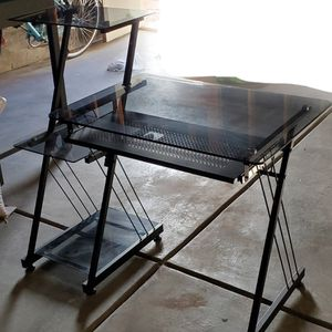 Tempered Glass Computer Desk with Shelves and Pull- out Feature for Sale in Brighton, CO