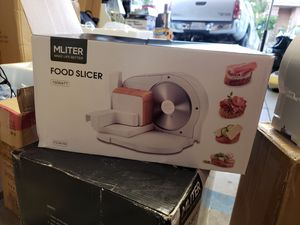 MLITER Electric Food Slicer Machine Precision 7.5-Inch Stainless Steel Blade For Bread and Meat, 150 Watt, Silver for Sale in Riverside, CA