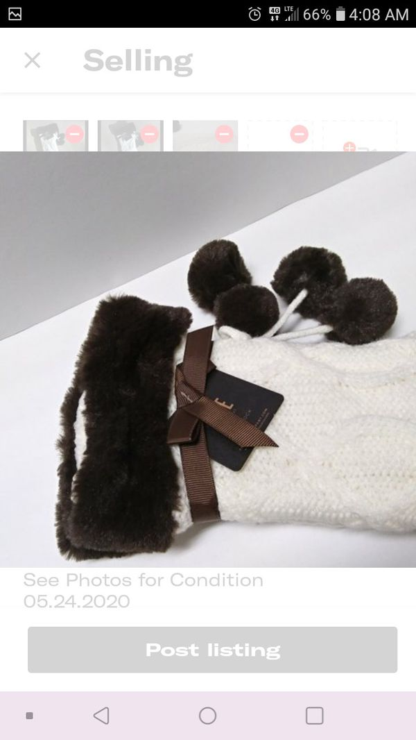 Frye Ivory Sweater Knit Socks with Chocolate Brown Faux Fur Trim and Pompoms