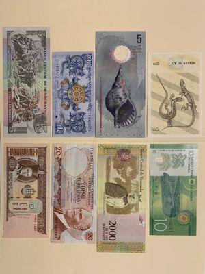 8 PCS World Mix Banknote Set for $15 Lithuania Nicaragua Maldives (Polymer) Venezuela Turkey (Mustafa Kemal Ataturk) Bhutan Mongolia Honduras for Sale in Atlanta, GA