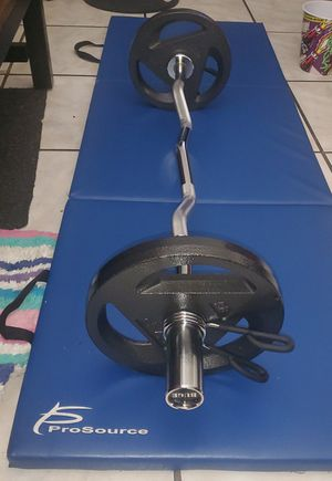 Buge Olympic curl bar w/ 50 pounds, total 75lbs for Sale in Miami, FL