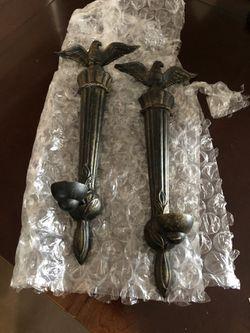 2- Metal eagle sconces for candles for Sale in Oakwood,  GA