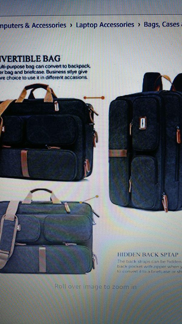 New Coolbell convertible padded laptop bag backpack messenger bag Canvas black
