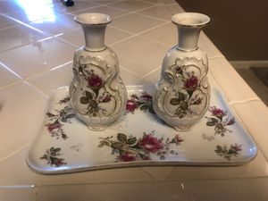 Antique tray with small vases for Sale in Fresno, CA
