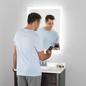 24 in. x 30 in. LED Wall Mirror with Bluetooth Speakers built in for Sale in Coconut Creek, FL