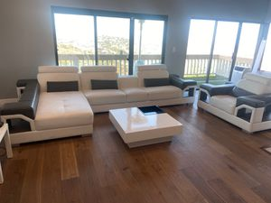 Leather sectional sofa white and gray - great condition for Sale in San Carlos, CA