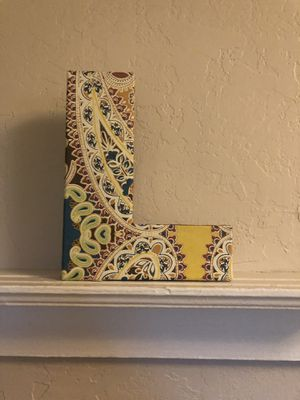 """Anthropologie Letter """"L"""" Paisley Decor Sign for Sale in San Diego, CA"""