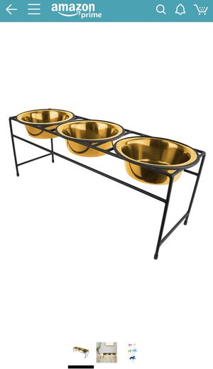 Triple 24K elevated dog bowls for Sale in Miami, FL
