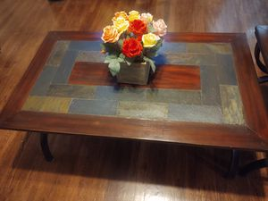 Coffee table and side table whit Stones around really good condition serious buyer please not texting waisting my time for Sale in Modesto, CA