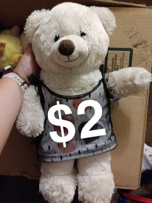 White Build A Bear Stuffed Animal White Teddy Bear Red Pink Black Sparkly Hearts Dress $2 for Sale in Anaheim, CA