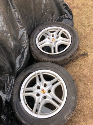 Pair of Porsche tires and rims; Size (255/55 R18)tires. for Sale in Madera, CA