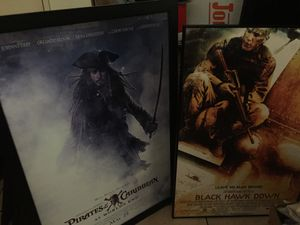 Framed movie prints: Pirates of the Caribbean at world's end; Black Hawk Down; Catch me if you Can; Grinch; Princess Diaries; Brave Heart; for Sale in Los Angeles, CA