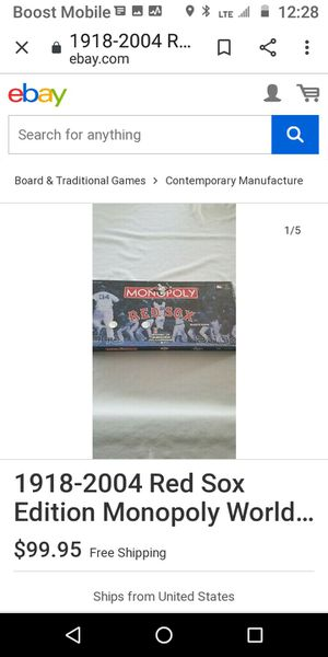 RED SOX NEW MONOPOLY WORTH $100 ON EBAY ASKING $75 for Sale in Las Vegas, NV