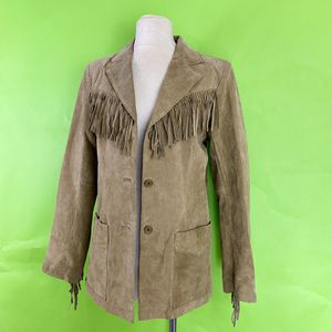 Denim & Co. Tan Leather Suede Fringe Blazer Jacket Size Small for Sale in Santa Ana, CA