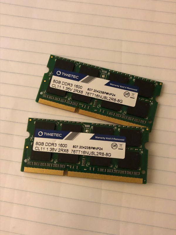 Timetec 2x8gb 16gb DDR3L 1600MHz Laptop RAM