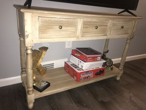 Rustic beige wood Tv stand with storage for Sale in Pittsburgh, PA