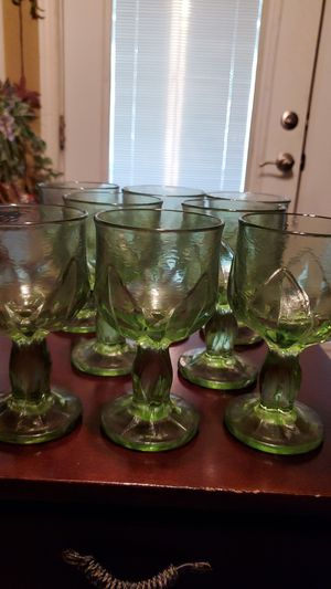 Vintage Set of 8 Green Heavy Glass Goblets for Sale in San Antonio, TX