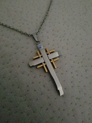SILVER & GOLD MENS CROSS W/CHAIN for Sale in Colorado Springs, CO