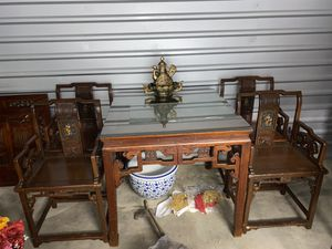 Exquisite Chinese hand carved table & 4 chairs for Sale in Gulf Shores, AL