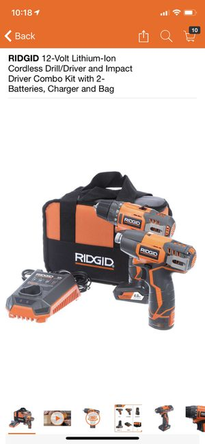 RIDGID 12-Volt Lithium-Ion Cordless Drill/Driver and Impact Driver Combo Kit with 2-Batteries, Charger and Bag for Sale in Philadelphia, PA